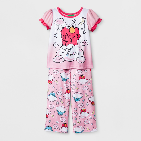 df07c596a6 Sesame Street Elmo Pajama Set 4T Toddler Girl Pink